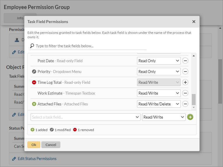 Contact field permissions